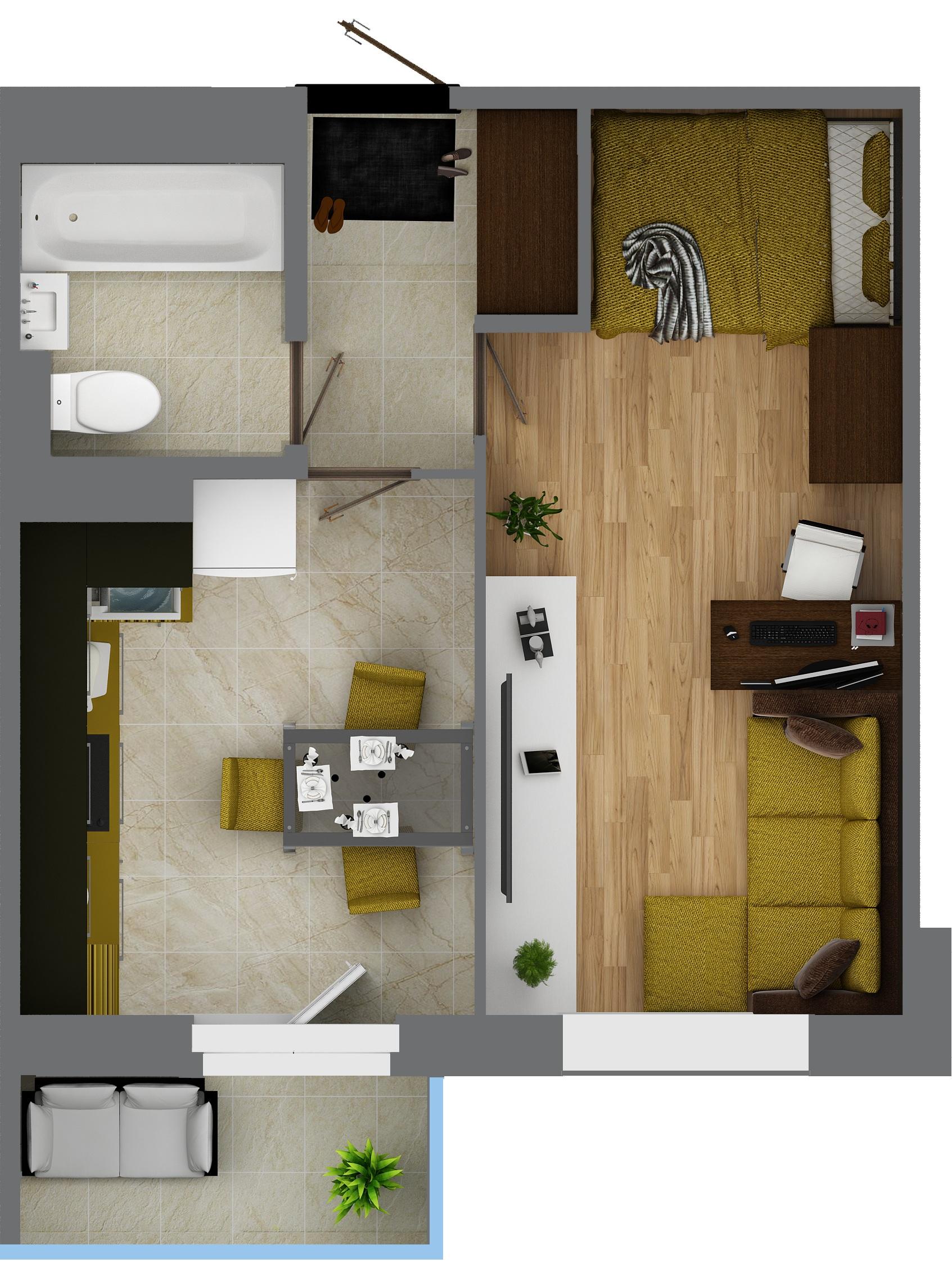 Планировка Однокомнатная квартира площадью 33.8 кв.м в ЖК «КудроВО!»