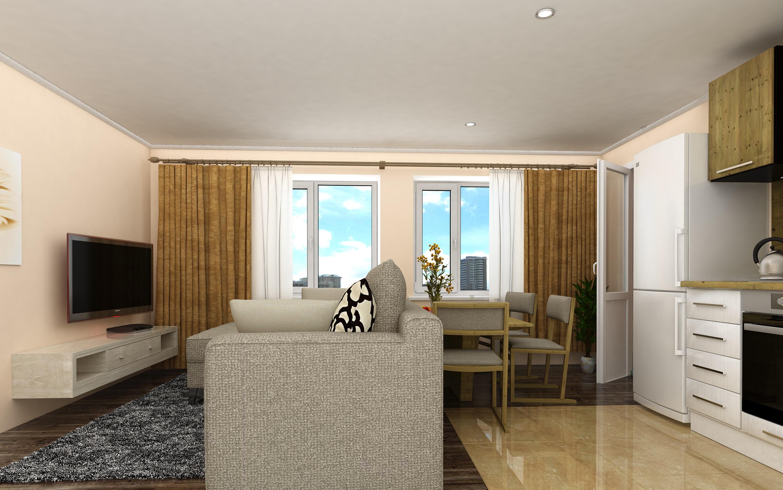 Планировка Двухкомнатная квартира площадью 49.13 кв.м в ЖК «КудроВО!»